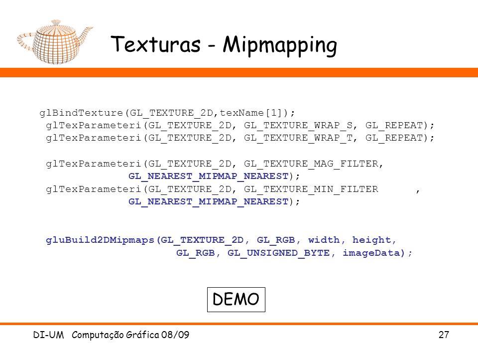 Texturas - Mipmapping DEMO glBindTexture(GL_TEXTURE_2D,texName[1]);